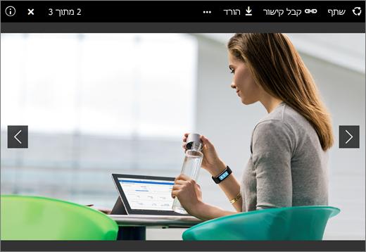 צילום מסך של מציג התמונות ב- OneDrive for Business ב- SharePoint Server 2016 עם Feature Pack 1