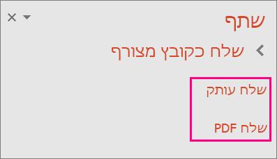 מציג את הקישור 'שלח PDF' ב- PowerPoint 2016