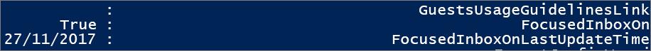 תגובה מ- PowerShell לגבי המצב של תיבת הדואר הנכנס הממוקדת.