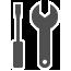 מציג סמל של מברג ומפתח ברגים.