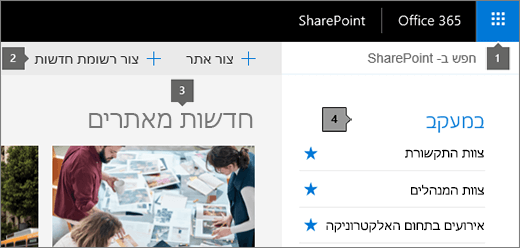 SharePoint Online של הדף הראשי