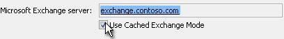 תיבת הסימון 'השתמש במצב Cached Exchange'