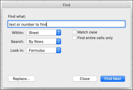 חיפוש טקסט או מספרים בחוברת עבודה או בגליון עבודה על-ידי הקשה על Ctrl + F