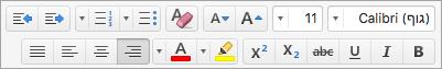 מציג את אפשרויות עיצוב הטקסט