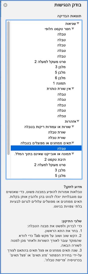 צילום מסך של תפריט בודק הנגישות