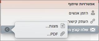 שיתוף אפשרויות דואר אלקטרוני ב- PPT for Mac