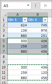 הדבקת נתונים מתחת לטבלה מרחיבה את הטבלה כך שתכלול אותם