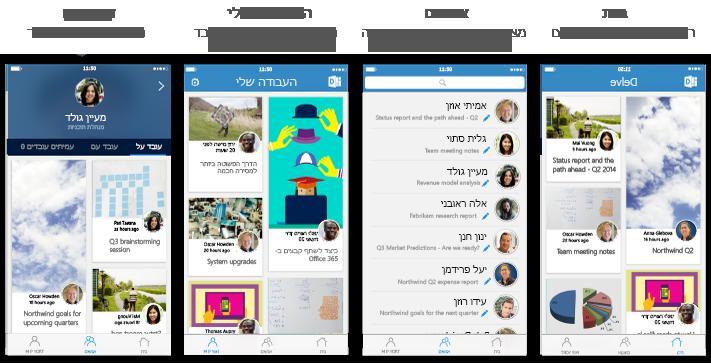 ארבעה מסכי Delve for iPhone עם טקסט תיאור