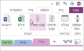 הוספת קובץ מצורף כך שתוכל לקבל עותק של הקבצים ב- OneNote