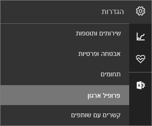 צילום מסך של תפריט 'הגדרות' כאשר האפשרות 'פרופיל ארגון' נבחרה