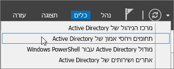 בחר 'תחומים ויחסי אמון של Active Directory'.