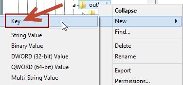 Regedit - Outlook - New Key