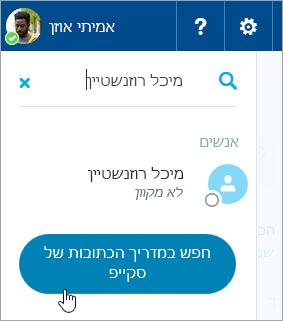 צילום מסך של תיבת החיפוש בחלונית Skype