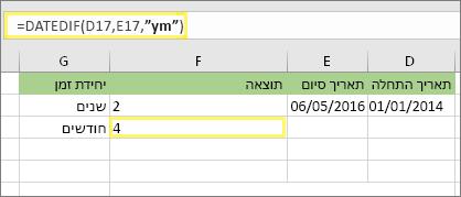 "= DATEDIF (D17, E17, ""ימ ה"") ותוצאה: 4"