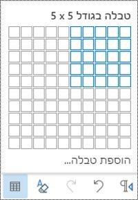 רשת טבלה ב- Outlook באינטרנט.