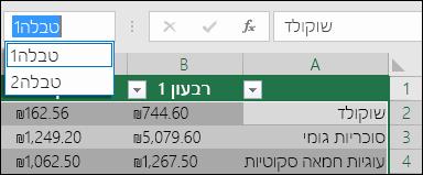 שורת הכתובת Excel מימין לשורת הנוסחאות