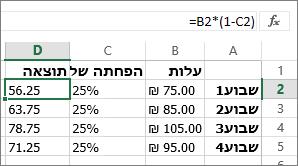 דוגמה המציגה הפחתת סכום באחוז