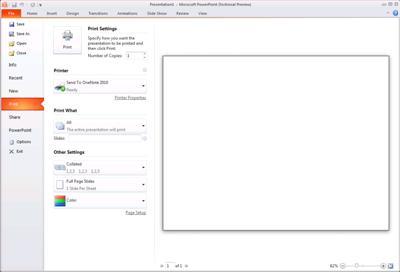 הכרטיסיה 'קובץ' ב- PowerPoint 2010, הצגת האפשרות 'הדפס'.