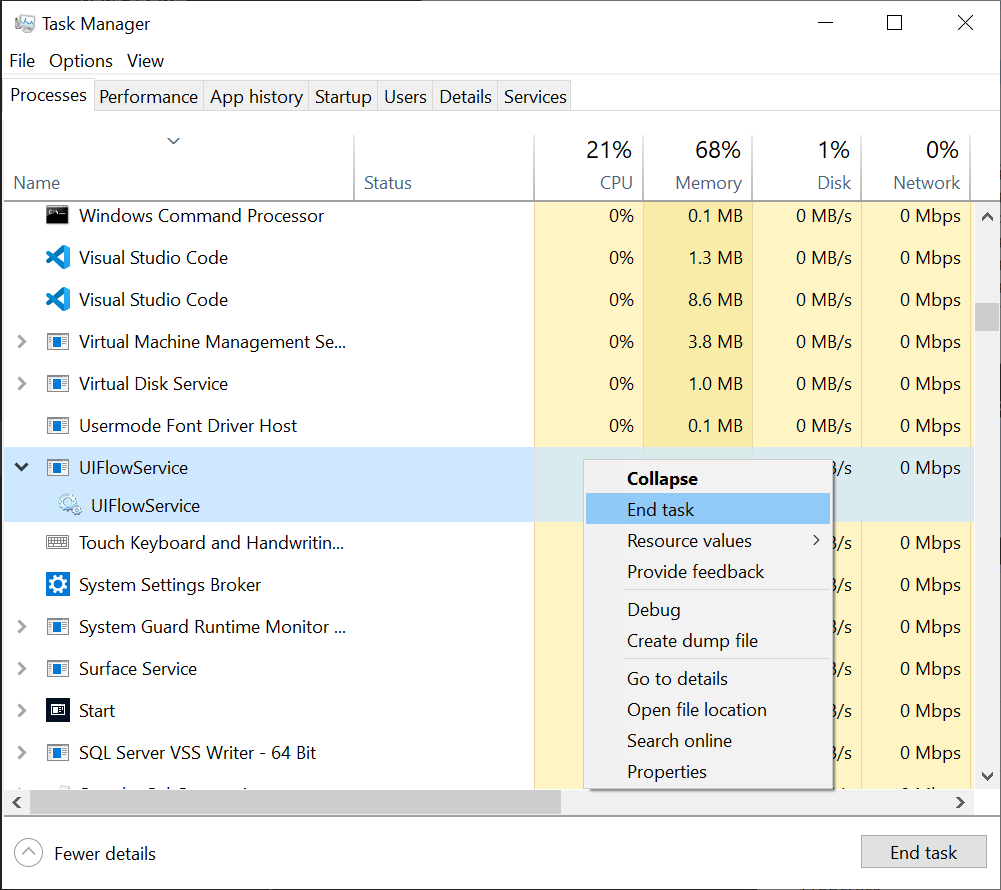תהליך משויך לשירות זרימה של ממשק משתמש בצילום מסך של מנהל המשימות