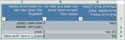 כדי להדפיס את שאלות הסקר והתגובות, בחר את התאים המכילים את התגובות.