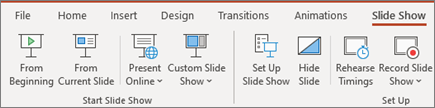 הצגת שקופיות של PowerPoint ב- Office 365