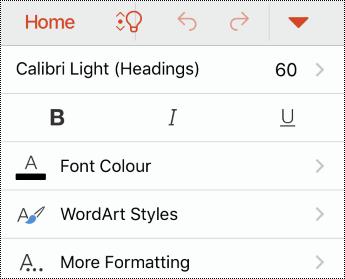 תפריט גופן ב- PowerPoint עבור iOS.