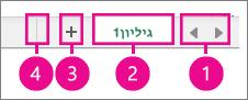 הפינה הימנית התחתונה של הדף, מציגה את פקדי הגיליון
