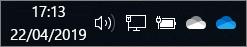 לקוח הסינכרון של OneDrive עם סמלי ענן כחול וענן לבן