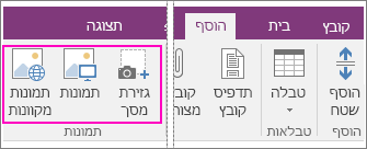 צילום מסך של אפשרויות 'הוספת תמונות' ב- OneNote 2016.
