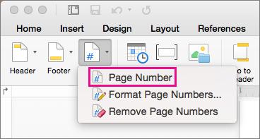 בכרטיסיה ' כותרת עליונה וכותרת תחתונה ', לחץ על מספר עמוד בתפריט ' מספר עמוד ' כדי להוסיף מספר עמוד.