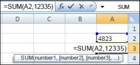 שימוש בפונקציה SUM כדי להוסיף תא וערך