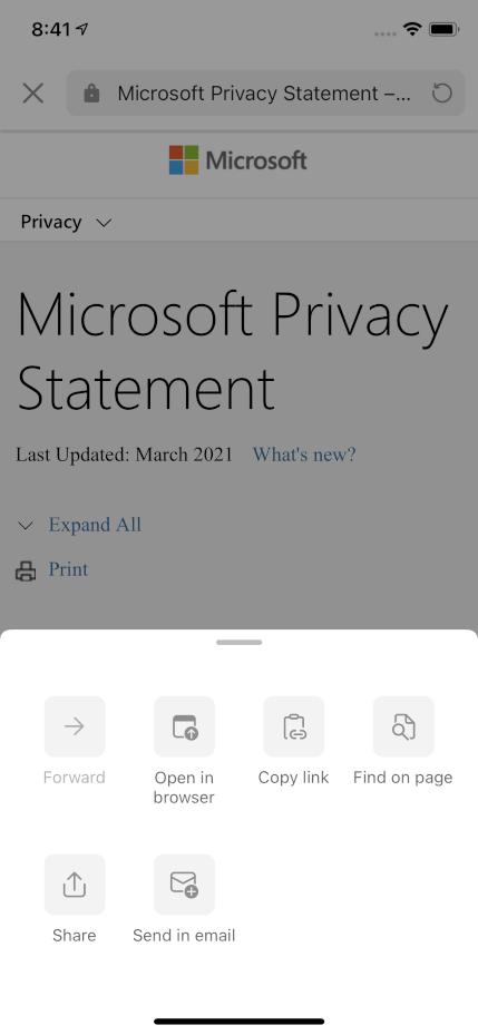 צילום מסך המציג את תצוגת האינטרנט ב- Outlook כאשר תפריט הגלישה מורחב