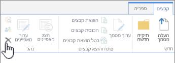 אפשרות מחיקת המסמך בכרטיסיה 'קובץ'