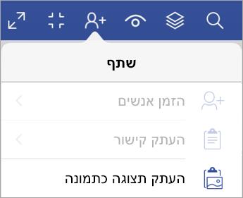 אפשרויות שיתוף ב- Visio Viewer עבור iPad