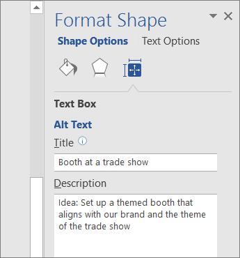 צילום מסך של האזור 'טקסט חלופי' בחלונית 'עיצוב צורה' המתאר את הצורה שנבחרה