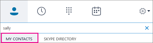 כאשר אנשי הקשר שלי מסומנים, באפשרותך לחפש בפנקס הכתובות של הארגון שלך.