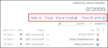 השתמש בסרגל הפקודות המהירות ב- Office 365 כדי להתחיל פעילויות ב- OneDrive for Business או בספריית המסמכים של אתר הצוות של SharePoint Online.