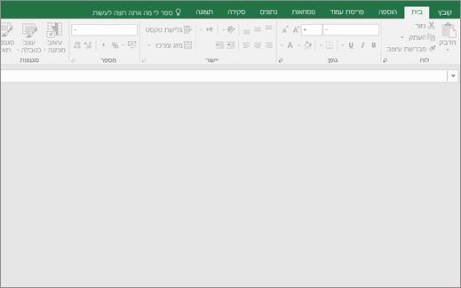 חלון ריק של Excel עם לחצני זמין; אין חוברת עבודה פתוחה.