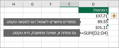 תאים עם מספרים מאוחסנים כטקסט עם משולשים ירוקים