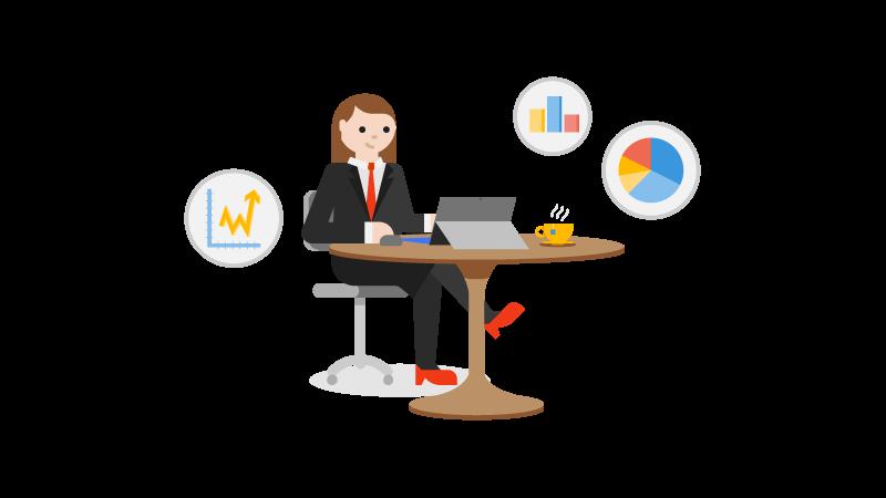 איור של אישה יושבת ליד שולחן עבודה עם מחשב נישא