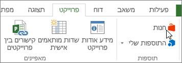 צילום מסך של מקטע ' פרוייקט ' ברצועת הכלים עם סמן המצביע על החנות. בחר אחסון כדי לעבור אל חנות Office ולחפש תוספות עבור הפרוייקט.