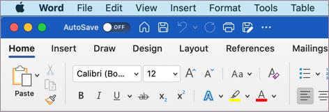 Word for macOS באמצעות ערכת נושא צבעונית