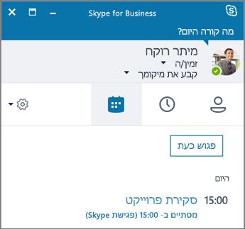 צילום מסך של הכרטיסיה 'פגישות' בחלון של Skype for Business.
