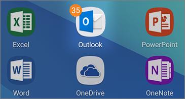 שישה סמלי יישומים, כולל סמל Outlook המציג את מספר ההודעות שלא נקראו בפינה השמאלית העליונה