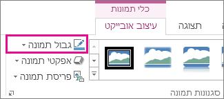 הפקודה 'גבול תמונה' בכרטיסיה 'כלי תמונות > עיצוב'