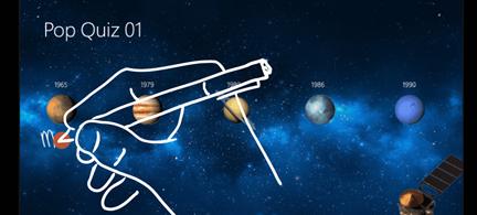 כוכבי לכת עם המילים ' מארס ' ואת יופיטר בכתב יד בשקופית