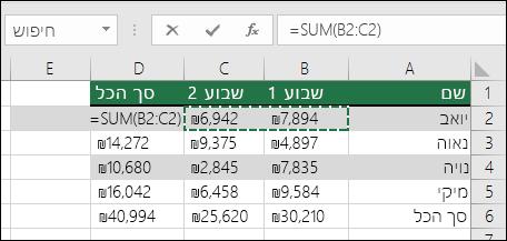 תא D2 מציג את נוסחת Sum בשם סכום אוטומטי: =SUM(B2:C2)