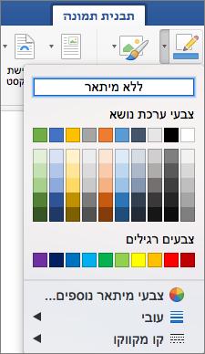צבעי מיתאר עבור גבול תמונה מוצגות.