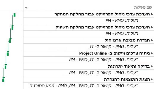 תוכנית פרוייקט של PMO ב- Project Online