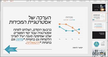 מצגת עם שקופית המכילה תרשים וטקסט עם שני היפר-קישורים